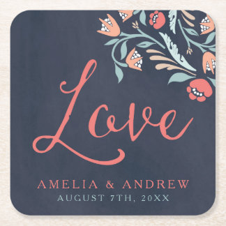 Bluish Chalkboard Floral Wedding Love Square Paper Coaster