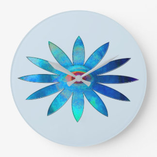 Bluish Eye Flower Large Clock