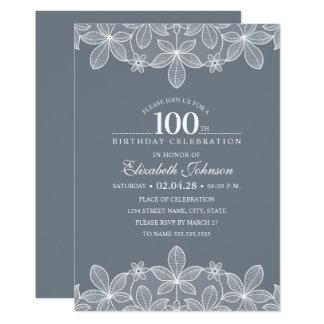 Bluish Grey 100th Birthday Party Creative Lace Card