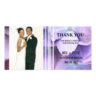 Bluish Purple Hydrangea Wedding Photo Thank You Photo Cards