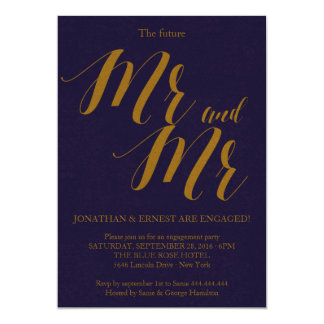 Bluish   Rustic Chic Mr and Mr Engagement Party Card