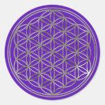 Blume des Lebens / Flower Of Life | silver violet Runder Aufkleber