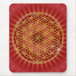 Blume des Lebens / gold big red radial BG Mauspad