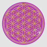 Blume des Lebens | klein / magenta splatter BG Sticker