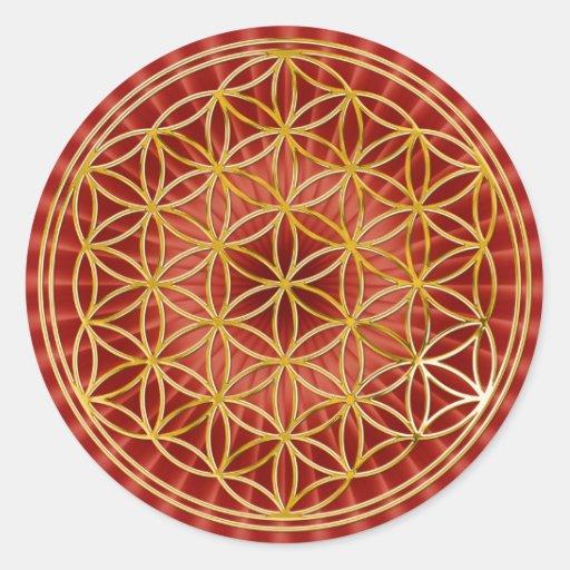 Blume des Lebens | klein red radial BG Round Sticker