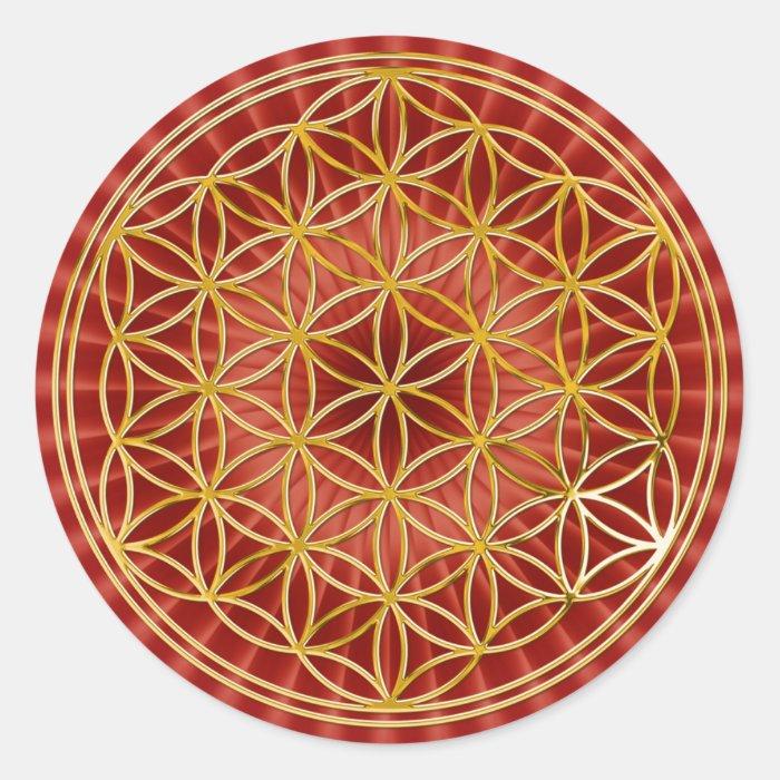 Blume des Lebens   klein red radial BG Round Sticker