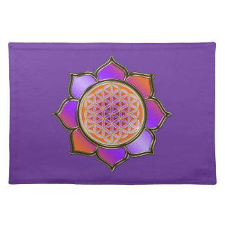 Blume des Lebens - LOTUS BLÜTE orange violett Placemat