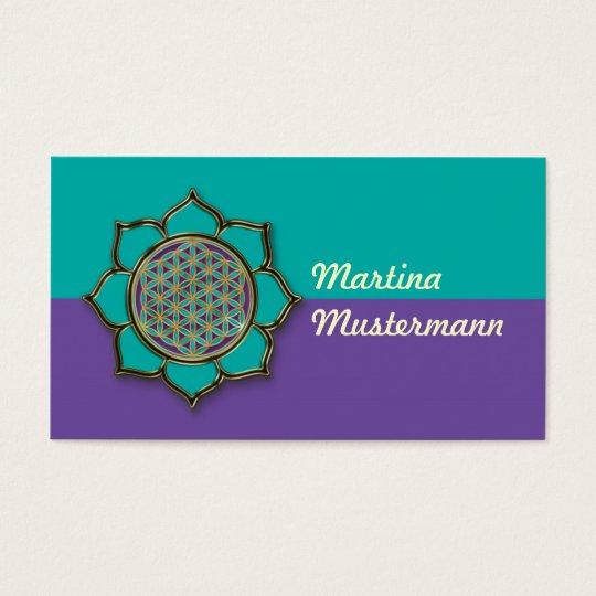 Blume des Lebens Lotus türkis Business Card