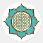 Blume des Lebens Lotus - türkis / transparent Stickers