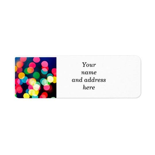 Blurred Christmas lights Return Address Label