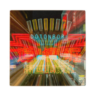 Blurred Dotonbori Neon Maple Wood Coaster