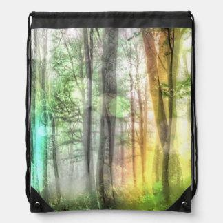 Blurred forest drawstring backpack