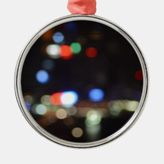 Blurred Night Lights of Hong Kong Silver-Colored Round Decoration