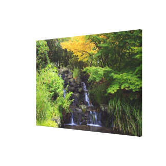 Blurred Rock Waterfall, Maple Green & Orange Trees Canvas Print