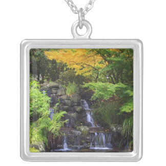 Blurred Rock Waterfall, Maple Green & Orange Trees Silver Plated Necklace
