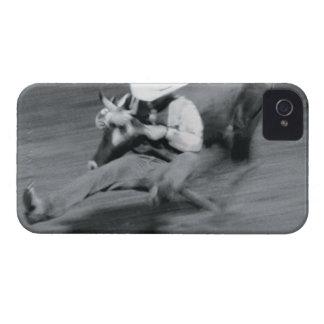 Blurred shot of cowboy wrestling steer iPhone 4 case