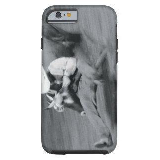 Blurred shot of cowboy wrestling steer tough iPhone 6 case