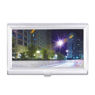 Blurred Traffic at Night Business Card Holder