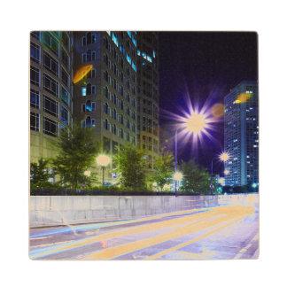 Blurred Traffic at Night Maple Wood Coaster