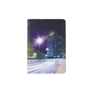 Blurred Traffic at Night Passport Holder