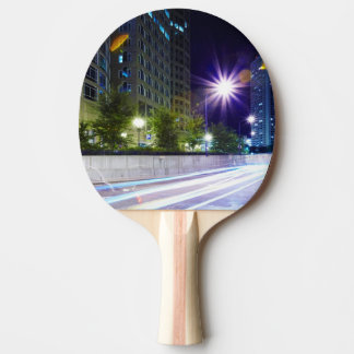 Blurred Traffic at Night Ping Pong Paddle