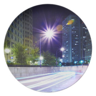 Blurred Traffic at Night Plate