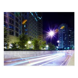 Blurred Traffic at Night Postcard