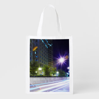 Blurred Traffic at Night Reusable Grocery Bag