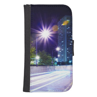 Blurred Traffic at Night Samsung S4 Wallet Case