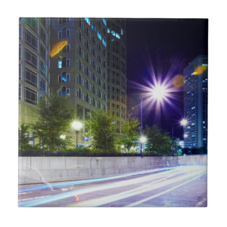 Blurred Traffic at Night Tile