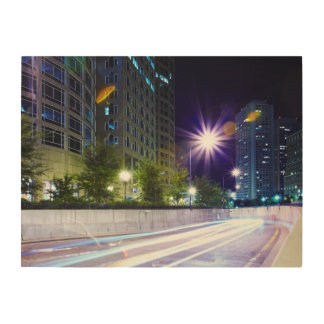 Blurred Traffic at Night Wood Wall Art