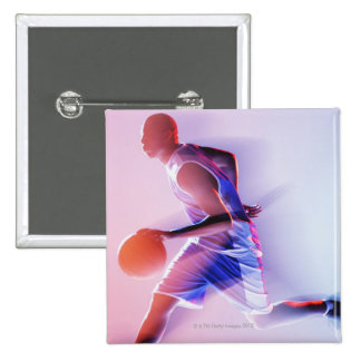 Blurred view of basketball player dribbling 15 cm square badge
