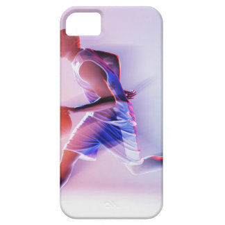 Blurred view of basketball player dribbling iPhone 5 cases