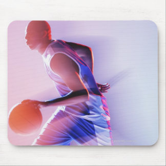 Blurred view of basketball player dribbling mouse pad