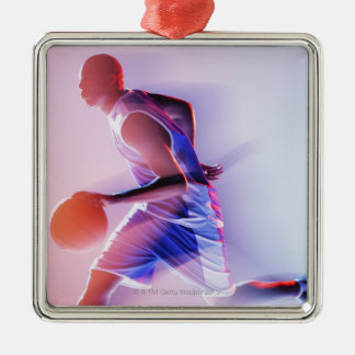 Blurred view of basketball player dribbling Silver-Colored square decoration