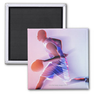 Blurred view of basketball player dribbling square magnet