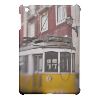Blurred view of streetcar on city street iPad mini covers