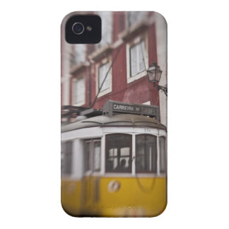 Blurred view of streetcar on city street iPhone 4 cover