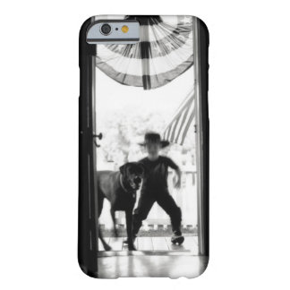 Blurred young boy and dog on porch barely there iPhone 6 case
