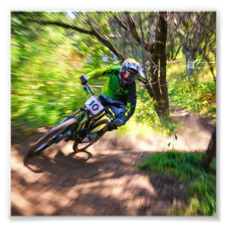 Blurry Forest Dirtbike Racer Photo