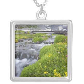 Blurry River with Yellow White Pink Wildflowers Silver Plated Necklace