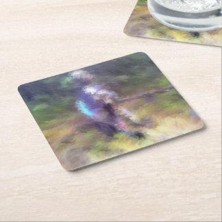 blurry troll photo square paper coaster