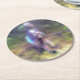blurry troll photo round paper coaster