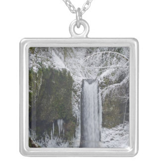Blurry Waterfall Surrounded by a Snowy Forest Silver Plated Necklace