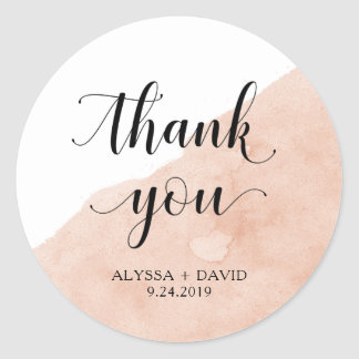 Blush Abstract Watercolor | Wedding Thank You Round Sticker
