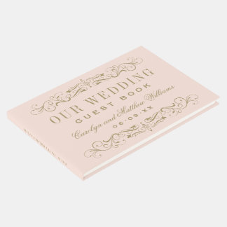 Blush and Antique Gold Flourish Wedding Guest Book