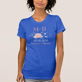 Blush and blue boho monogram wedding t-shirt
