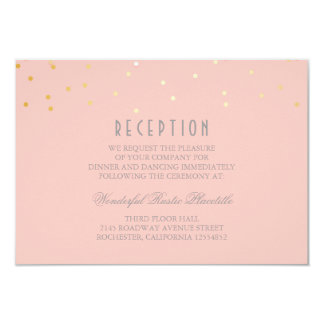 blush and gold confetti wedding Reception cards 9 Cm X 13 Cm Invitation Card