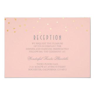 blush and gold confetti wedding Reception cards 9 Cm X 13 Cm Invitation Card