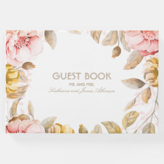 Blush and Gold Floral Bouquet Watercolor Wedding Guest Book
